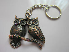 Key Chain Ring antique copper  owl charm pendant gift present accessory