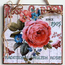 Handmade Shabby Chic picture plaque with decoupage technology. Shaby Rose. Woode