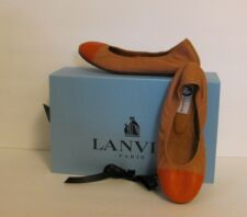 Lanvin coral pink tan toecap ballet flat shoe New spectator 35.5 5.5 leather