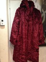 Women's outwear Winter heavy Washable Faux Fur hooded long Coat plus 1X 2X 3X 4X