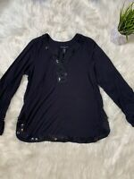 Womens Apostrophe Stretch Black Sequin From Long Sleeve Blouse Top L (14/16)