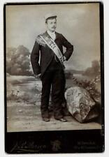 Vintage Cabinet Photo Man in Military Cap & Sash / J R Pearson Pittsburgh