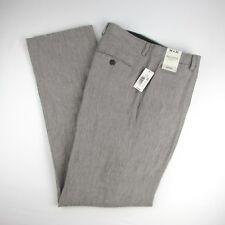 NWT Baird McNutt Murano Flat Front Brown Pinstripe 100% Linen Casual Pants 34x32