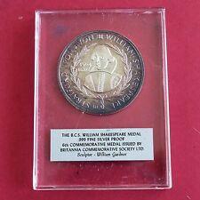 William Shakespeare 44 mm BCS .999 Fina Plata Prueba De Medalla