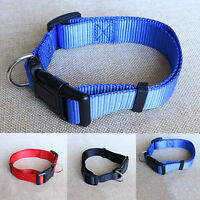Adjustable Fabric Nylon Dog Puppy Pet Collar w/ Buckle and Clip for Pet Lead New