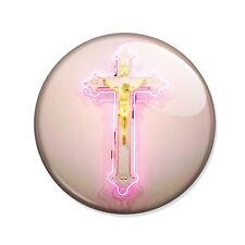 Badge CROIX CHRIST Néon ROSE Jésus pink fluo cross hipster boho pop pins Ø25mm .