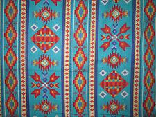 Navajo Native American Beaded Like Floral Teal Border Print Cotton Fabric BTHY