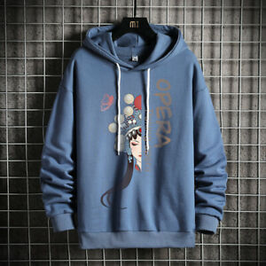 Men Plus Size Cotton Sweatshirt Hoodie Pullover Beijing Opera Printed Shirt Top