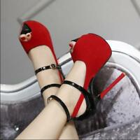 Womens Suede Peep Toe 16cm Stilettos High Heels Platform Sandals Ankle Straps X3