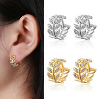 Small and Exquisite Silver Gold Crystal Zircon Earrings Ear Clip Retro Leaves
