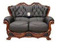 Dante 2 Seater Black Italian Leather Sofa Settee