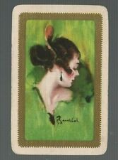 """Swap Playing Cards 1 VINT """"THE SPANISH GIRL""""CHIC LADY PINK  ART W  BARRIBAL BA86"""