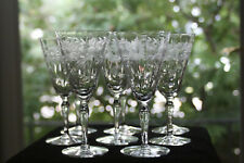 Gorgeous, Cut/Engraved Glass Water/Wine Glasses (8) Rock Sharpe