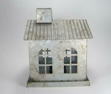 Rustic Style Galvanized Tin House Candle Holder with LED Tea Light Candle