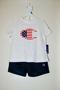 NWT Champion Infant Boys Blue Patriotic Logo SS T-Shirt & Shorts 2pc Set sz 24M