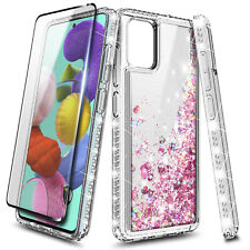 For Samsung Galaxy A71 5G Case Liquid Glitter Bling Phone Cover + Tempered Glass