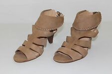 Nine West Womens 8.5 M Tan Brown Leather Strappy High Heels Booties Shoes NICE
