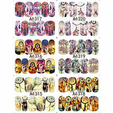 12 Sheets DREAM CATCHER Feather Nail Water Transfer Decal Sticker Art