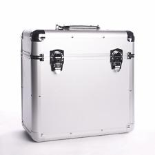 More details for vinyl lp record storage case aluminium silver dj box heavy duty 50pcs m&w