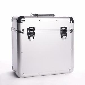 Vinyl LP Record Storage Case Aluminium Silver DJ Box Heavy Duty 50pcs M&W
