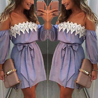 Fashion Women Striped Sleeveless Off Shoulder Lace Casual Party Short Mini Dress