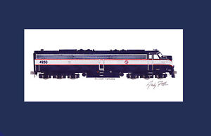 "NJ Transit E8 #4253 11""x17"" Matted Print Andy Fletcher signed"