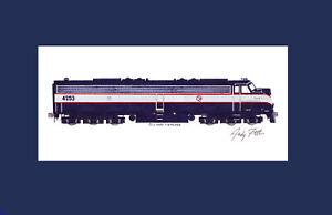 "NJ Transit E8 #4253 11""x17"" Matted Print Andy Fletcher signed"