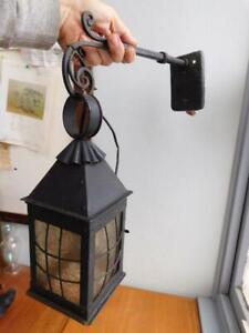 Vintage Outside Patio Lamp Lantern w' Wall Mount Bracket Electric Light