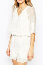 Boldgal Mesh Party Romper Playsuit Women Cocktail White Jumpsuit