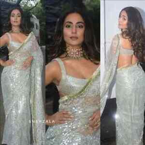 Net Sequins Work Party Saree Bollywood Style Ethnic Designer Women Wedding Sari