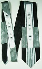 Silver, White, And Black Abstract Tie - Necktie With Symmetrical Patterns