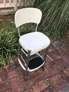 STYLAIRE Mid Century  White  Kitchen Step Stool Chair Farm House Look!!!