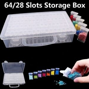 28/64Grid Plastic Clear Box Jewelry Bead Organizer Box Storage Box Container Box