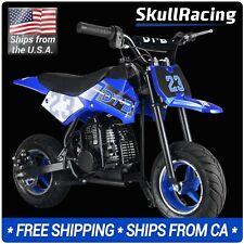SkullRacing Gas Powered Kids Mini Pocket Dirt Bike Motorcycle (Blue)