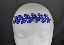 Blue laurel leaf leaves chain thin skinny forehead boho headband hair band