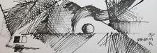 Cubism Constructivism Ink Painting Signed