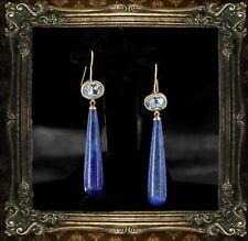 Boucles d'Oreilles Crochet Plaqué Or Lapis Lazuli Bleu Goutte Longue Retro QD3