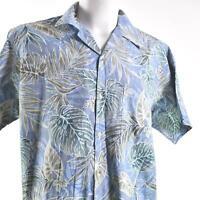 Go Barefoot Reverse Print Blue Floral Leave Fronds XL Hawaiian Aloha Shirt