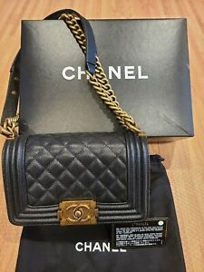 Authentic Chanel Small Cavier Quilted Boy Crossbody Bag