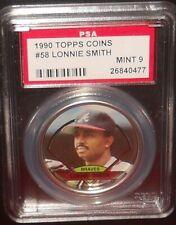 PSA 9 MINT 9 - #58 Lonnie Smith 1990 Topps Coins Atlanta Braves