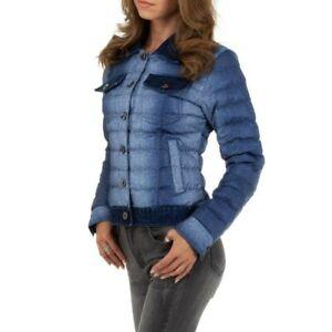 Piumino donna bomber blu cappotto giubbino giacca denim jeans imbottito corto