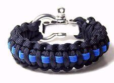 Paracord Survival Bracelet Thin Blue Line  Adjustable Shackle Hand Made USA