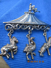 AWESOME Silver & Gold Circus Tent w/ Charms Brooch ...#6340