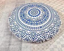 Cotton Mandala Round Floor Cushion Cover Pouf Ethnic Indian Handmade Pillow Case