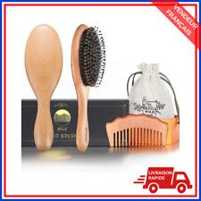 Coffret cadeau Brosse a cheveux en poils de sanglier naturels + peigne a cheveux