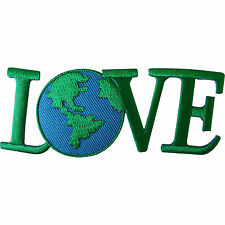 World Love Patch Iron Sew On Clothes Bag Green Peace Earth WWF Embroidered Badge