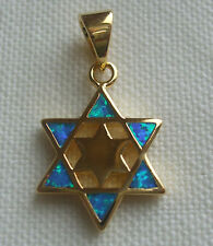 Jewish 18K Gold 2 Microns Star of David 6 Opals & Gold Star in Center - NEW