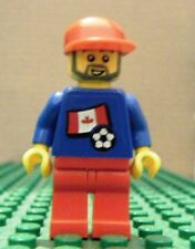 LEGO MINI–SPORTS–SOCCER–CANADA, #8, BLUE, RED LEGS, (Stickers)–GENTLY USED