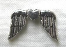 10 Flügel mit Herz, Engelsflügel, Metallperle, Perlenengel, Perlen basteln