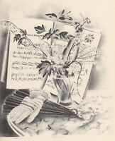 MINNETTA GOOD 1939 WPA Book Print VALSE BRILLANTE  Flower Artwork Sketch Print
